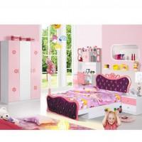 公主套房组合家具四件套 女孩家具套装 粉色床 布床1.5米