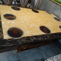 不锈钢玫瑰金镶马赛克大理石桌面每人每电磁炉火锅桌