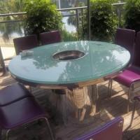鑫韵峰 餐厅火锅桌 定做大理石电磁炉组合智能火锅桌 火锅用餐台餐桌